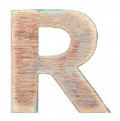 Painted on wood alphabet, letter R