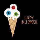 Ice cream with eyeballs bloody streaks. Happy Halloween card Flat design style.