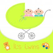 Baby carriage. It's twins boy and girl. Shower card. Flat design.