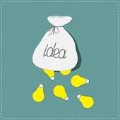 Light bulbs falling out of the bag. Idea concept. Flat design style.