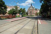 Tram Stops On Cyryla Ratajskiego Square In Poznan, Poland.