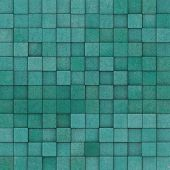 Square Mosaic Tiled Yellow Blue Green Grunge Pattern
