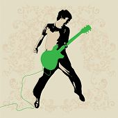 stock photo of ibanez  - Young Rockers Guitar Player Vector for Use - JPG
