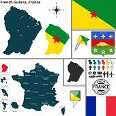 Map Of French Guiana, France