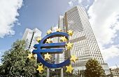 FRANKFURT AM MAIN, GERMANY -  MAY 14, 2014: Euro sign in front of the European Central Bank (Europae
