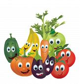 Illustration Collection of Animated Fruits and Vegetables