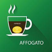 Type of coffee affogato coffee. Vector illustration