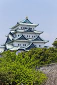 Nagoya castle atop with golden tiger fish head pair called