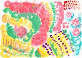 Child fingerpainting of abstract color spots