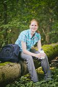 Recreational Hiker With Water Bottle In Nature