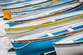 Colorful wooden boats.