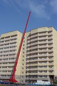 Lifting Hydraulic Crane On Construction Of Multistory Building