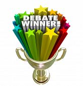 Debate Winner words in colorful stars in a gold trophy, award or prize to the person or team with the best argument or debating skills in a competition