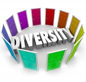 Diversity word in white 3d letters surrounded by color doors representing many ethnic, cultural or racial diverse backgrounds and opinions to share