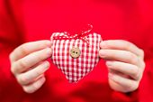 Red-white Plaid Textile Heart In Kids Hands