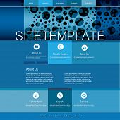 Website Template with Abstract Header Design - Blue Dotted Pattern