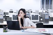 Bored Woman Working With Laptop