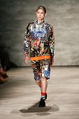 NEW YORK-SEP 8: A model walks the runway at the Libertine fashion show during Mercedes-Benz Fashion