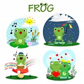 stock photo of dancing rain  - a Happy Frog Vector with many frog style - JPG