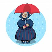 Old Lady Under The Rain