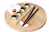 Sushi (roll) Lie On A Round Board