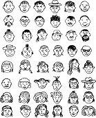 doodle set of faces