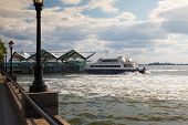 Hudson River Ferry In Battery Park, New York