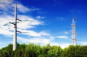 foto of power transmission lines  - Power Transmission Line in outdoor land view - JPG