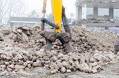Demolition Excavator In Action