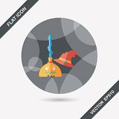 Witch Broom Flat Icon With Long Shadow,eps10