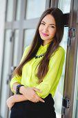foto of straight jacket  - Beautiful girl oriental appearance - JPG