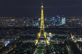 Paris - December 29: Eiffel Tower At Night View From Montparnasse Tower On December 29, 2013 In Pari