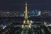 Paris - December 29: Eiffel Tower At Night View From Montparnasse Tower On December 29, 2013 In Pari