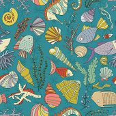 picture of creatures  - Vector seamless pattern with hand drawn fishes - JPG