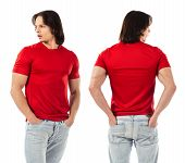 Young Man Posing With Blank Red Shirt