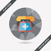 Emergency Call Flat Icon With Long Shadow,eps10