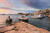 stock photo of piraeus  - Dawn in Mikrolimano marina in Athens - JPG