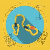 Flat vector illustration for rock climbing. Quickdraw