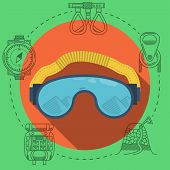 Flat vector illustration for climbing goggles