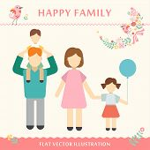 Family with children kids people concept flat icons set of parenting, time spending and being a gran