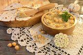 Hummus With Pita Bread And Garlic