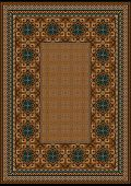 Luxury carpet with a blue pattern against the background brown shades