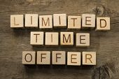 Limited time offer text on wooden cubes