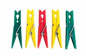 Five Colorful Plastic Clothespins