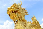 Golden dragon statue in Vietnam over blue sky