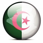 Illustration Of  Map On Flag Button Of People's Democratic Republic Of Algeria