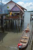 Phang Nga Bay,TH-Sept,20 2014:Housing on piles. Sea Gypsy Village Koh Panyee in the Andaman Sea,Th