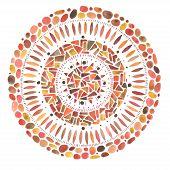 Watercolor hand drawn red mandala mosaic ornament around.
