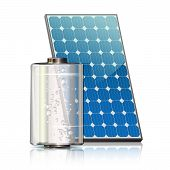 stock photo of solar battery  - Transparent battery and solar panel painted blue verticall - JPG