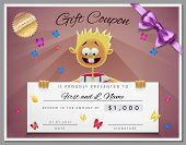 picture of coupon  - Gift certificate template as coupon with smile boy in vector - JPG